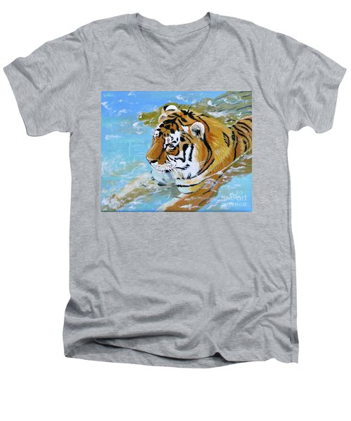 My Water Tiger Men's V-Neck T-Shirt by Phyllis Kaltenbach
