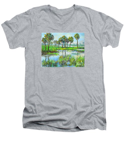 Myakka Lake With Palms Men's V-Neck T-Shirt
