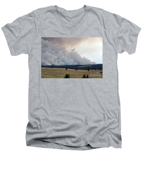 Myrtle Fire West Of Wind Cave National Park Men's V-Neck T-Shirt