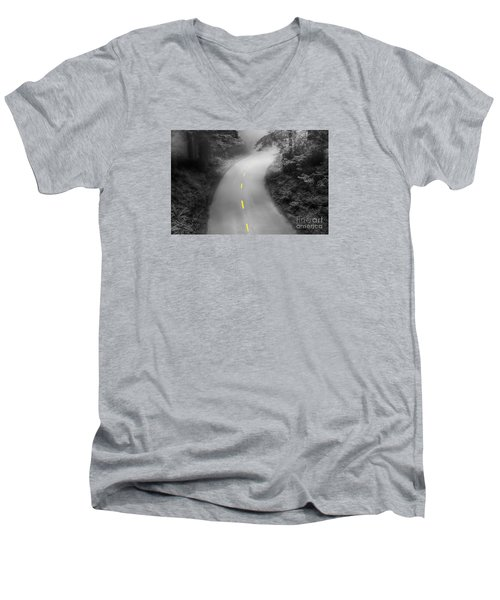 Mysterious Men's V-Neck T-Shirt by Alice Cahill