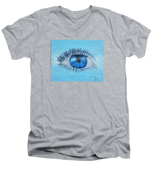 Men's V-Neck T-Shirt featuring the painting Mystic Eye by Pamela  Meredith