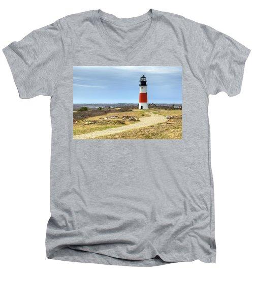 Nantucket's Sankaty Head Light Men's V-Neck T-Shirt