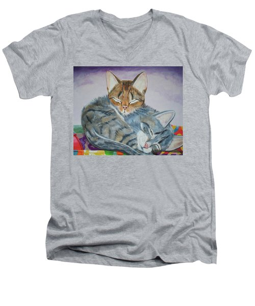 Men's V-Neck T-Shirt featuring the painting Nap Time by Thomas J Herring