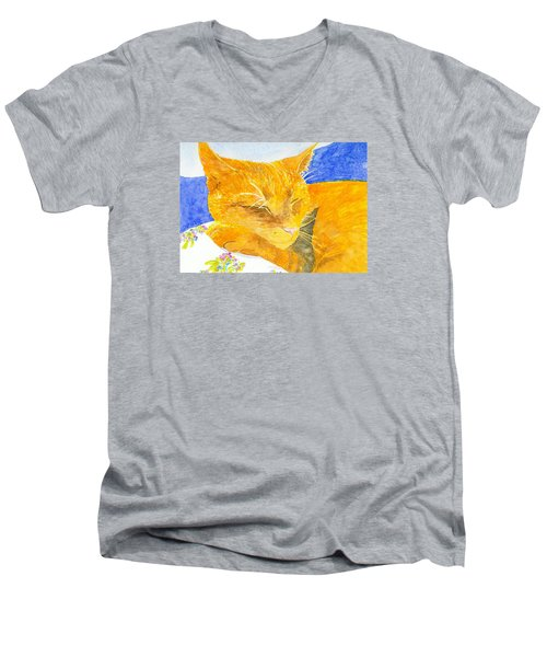 Nappy Cat Men's V-Neck T-Shirt by Anne Marie Brown
