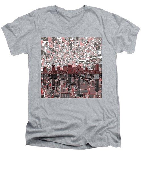 Nashville Skyline Abstract 3 Men's V-Neck T-Shirt by Bekim Art