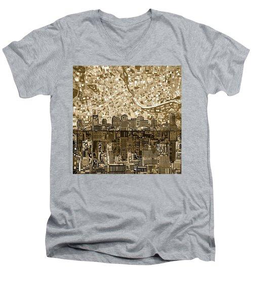 Nashville Skyline Abstract 6 Men's V-Neck T-Shirt