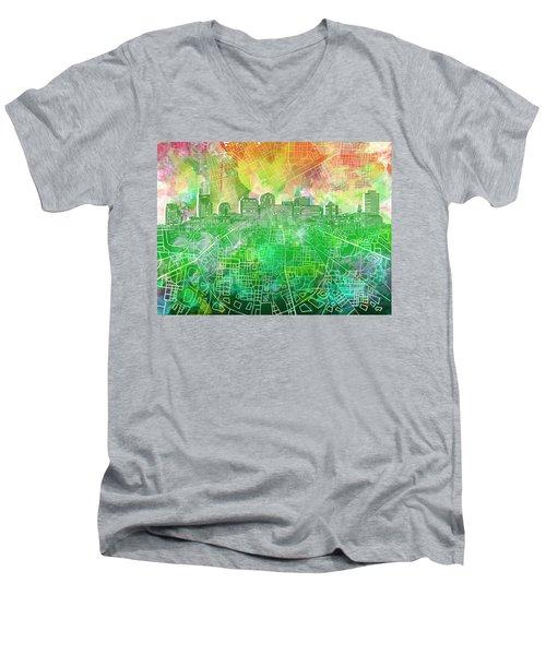 Nashville Skyline Watercolor 2 Men's V-Neck T-Shirt