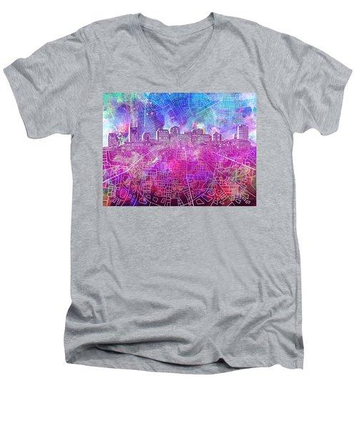 Nashville Skyline Watercolor Men's V-Neck T-Shirt