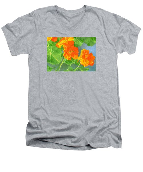 Nasturtiums Flowers Garden Small Oil Painting Men's V-Neck T-Shirt
