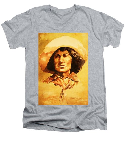 Men's V-Neck T-Shirt featuring the painting Nat Love Bronc Buster by Al Brown