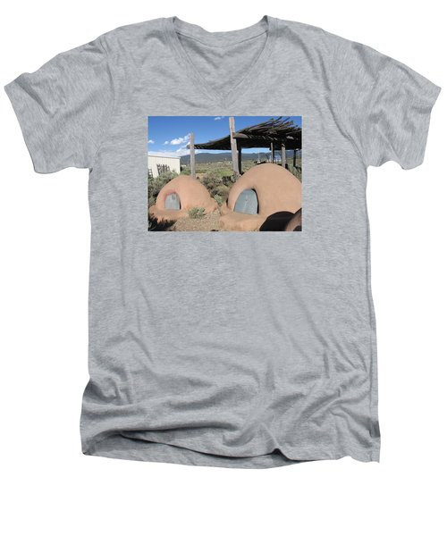 Men's V-Neck T-Shirt featuring the photograph Native American Adobe Ovens In New Mexico by Dora Sofia Caputo Photographic Art and Design