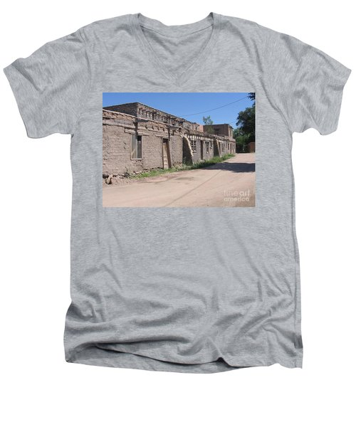 Men's V-Neck T-Shirt featuring the photograph Native American Adobe Pueblo by Dora Sofia Caputo Photographic Art and Design