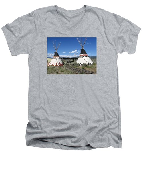 Men's V-Neck T-Shirt featuring the photograph Native American Teepees by Dora Sofia Caputo Photographic Art and Design