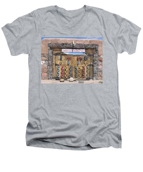 Men's V-Neck T-Shirt featuring the photograph Native American Trading Post by Dora Sofia Caputo Photographic Art and Design