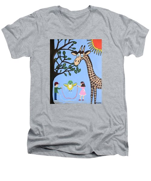 Men's V-Neck T-Shirt featuring the painting Nature's Playground by Kathleen Sartoris