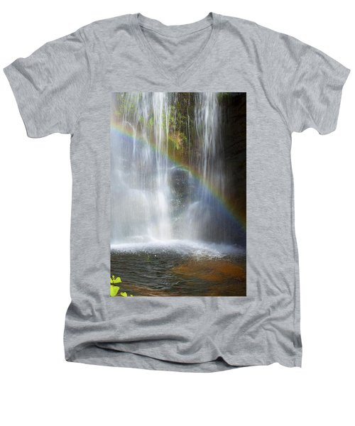 Men's V-Neck T-Shirt featuring the photograph Natures Rainbow Falls by Jerry Cowart