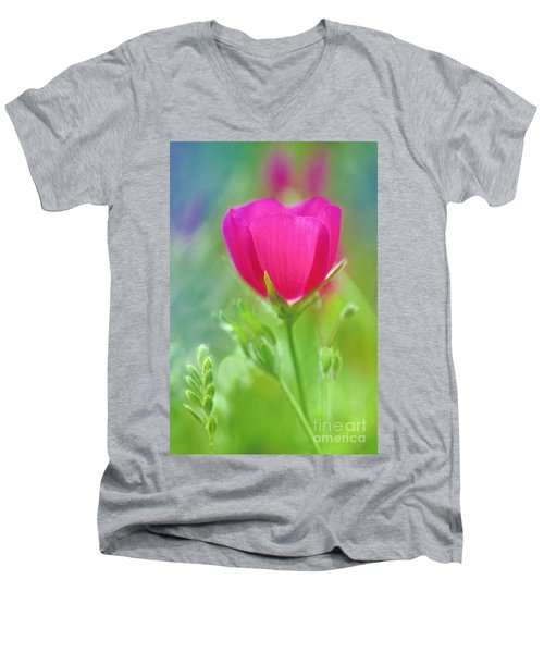 Men's V-Neck T-Shirt featuring the photograph Natures Winecup South Texas by Dave Welling