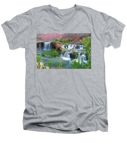 Men's V-Neck T-Shirt featuring the photograph Navajo Falls by Alan Socolik