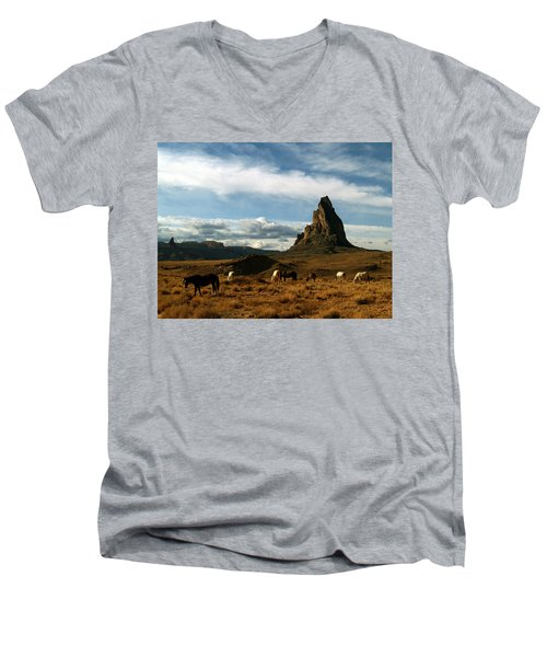Navajo Horses At El Capitan Men's V-Neck T-Shirt