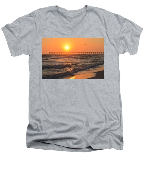 Navarre Beach And Pier Sunset Colors With Birds And Waves Men's V-Neck T-Shirt by Jeff at JSJ Photography