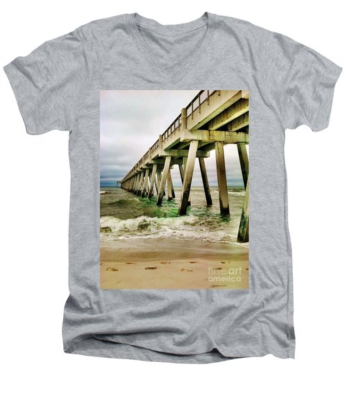 Navarre Pier Men's V-Neck T-Shirt by Janice Spivey