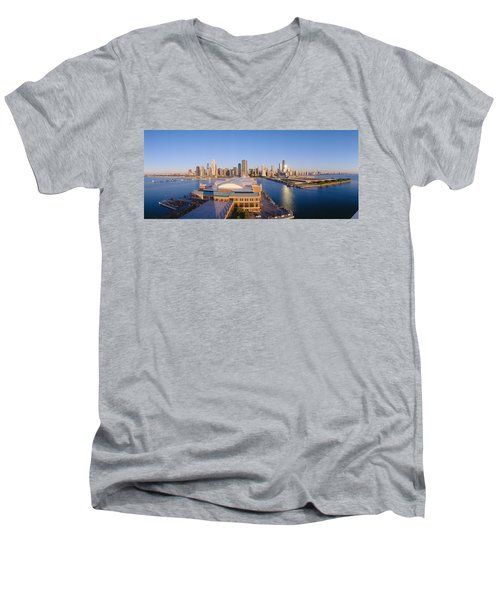 Navy Pier, Chicago, Morning, Illinois Men's V-Neck T-Shirt by Panoramic Images
