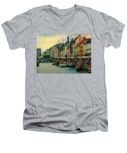Men's V-Neck T-Shirt featuring the painting Nayhavn Street by Jeff Kolker