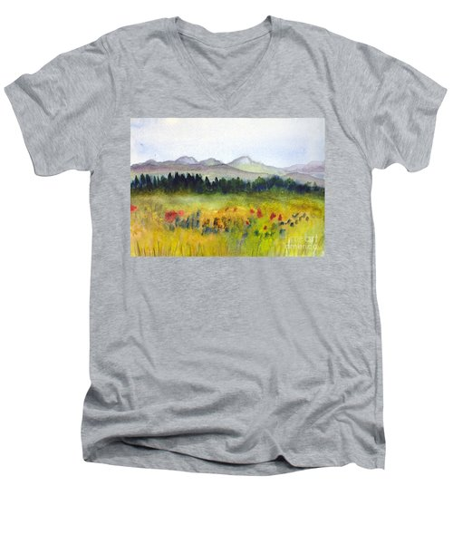 Nek Mountains And Meadows Men's V-Neck T-Shirt by Donna Walsh