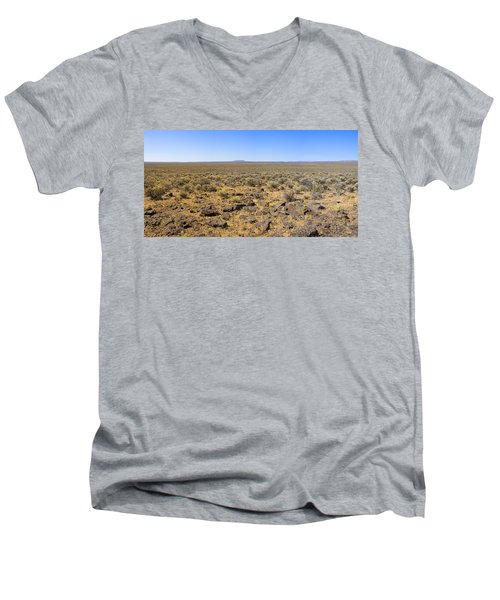 Men's V-Neck T-Shirt featuring the photograph Nevada Desert Panorama by Mark Greenberg