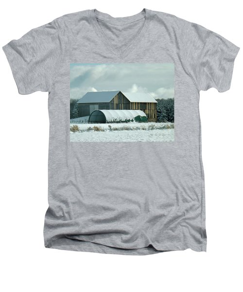 Men's V-Neck T-Shirt featuring the photograph New And Old Barn Planks by Brenda Brown