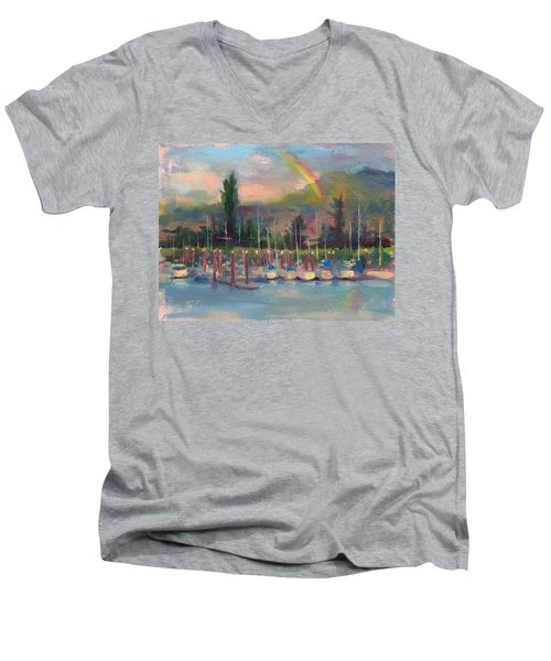 New Covenant - Rainbow Over Marina Men's V-Neck T-Shirt