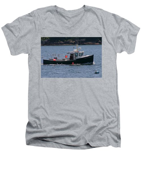 Men's V-Neck T-Shirt featuring the photograph New England Fishing Boat by Denyse Duhaime
