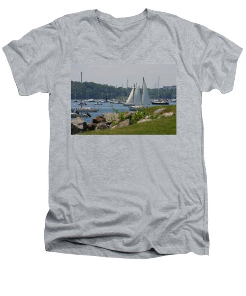 Men's V-Neck T-Shirt featuring the photograph New England Seascape by Denyse Duhaime