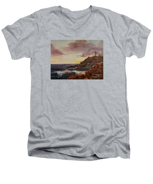 Men's V-Neck T-Shirt featuring the painting New England Storm by Lee Piper