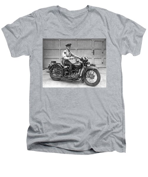 New Jersey Motorcycle Trooper Men's V-Neck T-Shirt