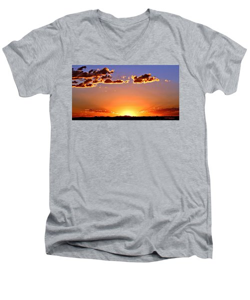 Men's V-Neck T-Shirt featuring the photograph New Mexico Sunset Glow by Barbara Chichester