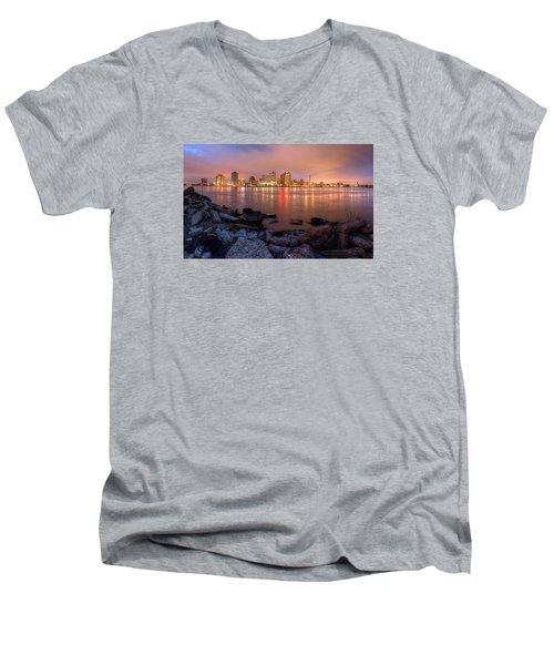 New Orleans Skyline Men's V-Neck T-Shirt by Tim Stanley