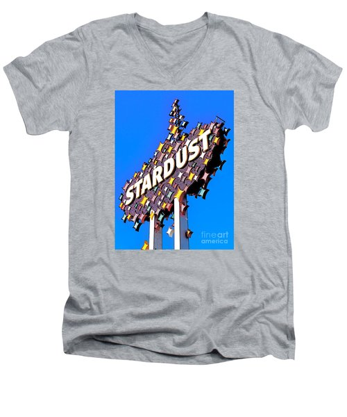Original Stardust Casino Neon In Las Vegas Pop Art Men's V-Neck T-Shirt