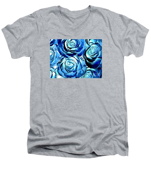 Pop Art Blue Roses Men's V-Neck T-Shirt