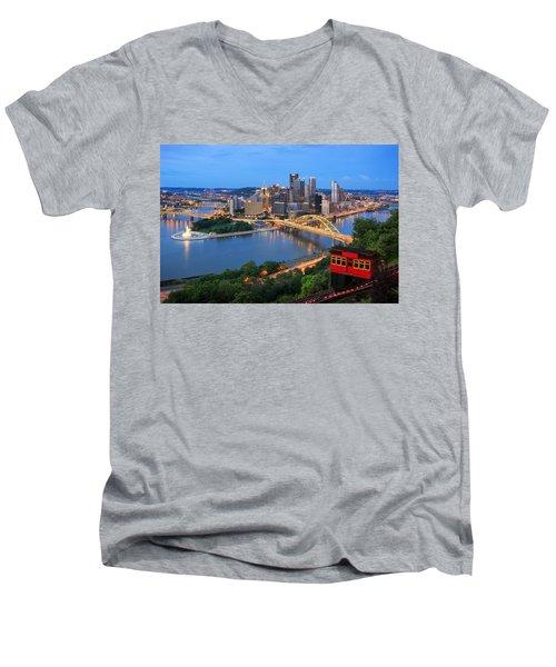 Pittsburgh Summer  Men's V-Neck T-Shirt by Emmanuel Panagiotakis