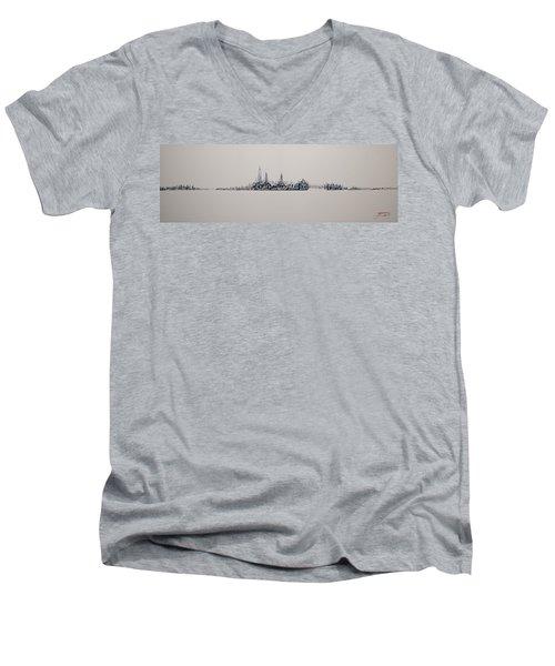 New York City 2013 Skyline 20x60 Men's V-Neck T-Shirt
