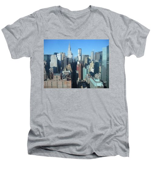Men's V-Neck T-Shirt featuring the photograph New York City Skyline by Dora Sofia Caputo Photographic Art and Design