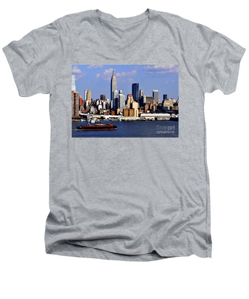 New York City Skyline With Empire State And Red Boat Men's V-Neck T-Shirt
