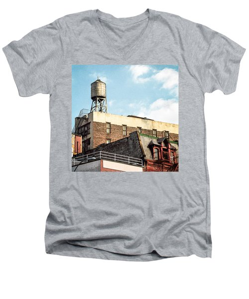 Men's V-Neck T-Shirt featuring the photograph New York City Water Tower 2 by Gary Heller