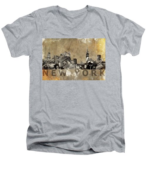 New York City Grunge Men's V-Neck T-Shirt by Suzanne Powers