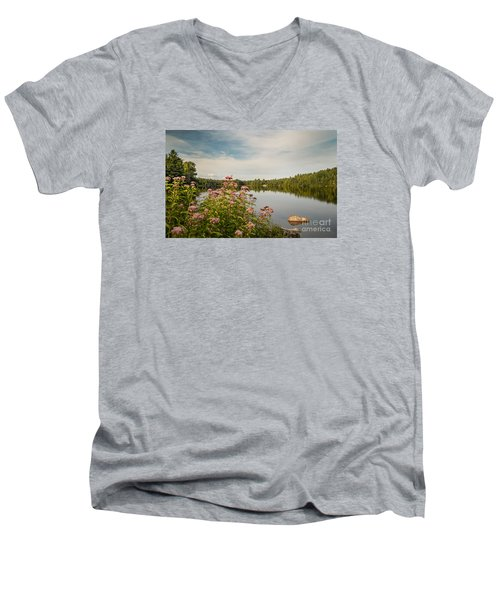 Men's V-Neck T-Shirt featuring the photograph New York Lake by Debbie Green