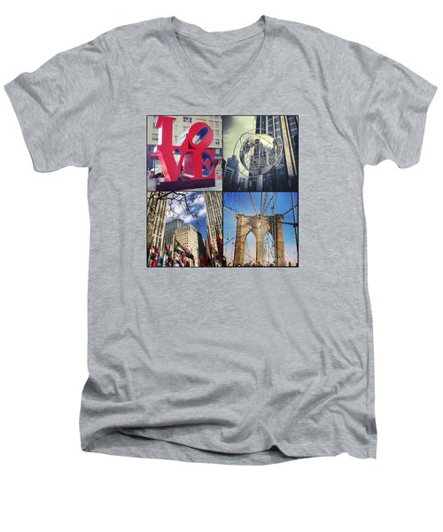 Men's V-Neck T-Shirt featuring the photograph New York Sights  by Kerri Farley