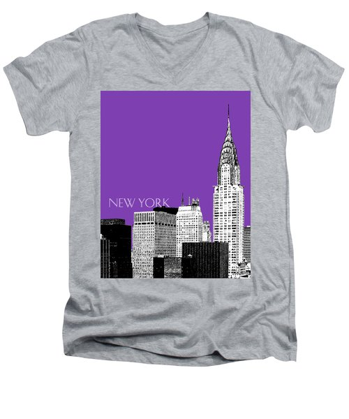 New York Skyline Chrysler Building - Purple Men's V-Neck T-Shirt