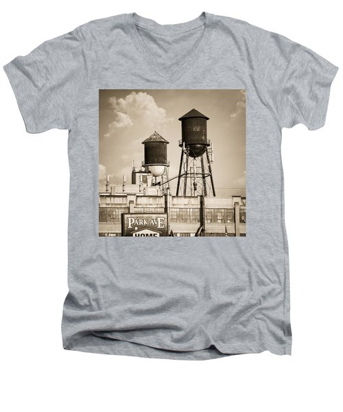 Men's V-Neck T-Shirt featuring the photograph New York Water Tower 8 - Williamsburg Brooklyn by Gary Heller