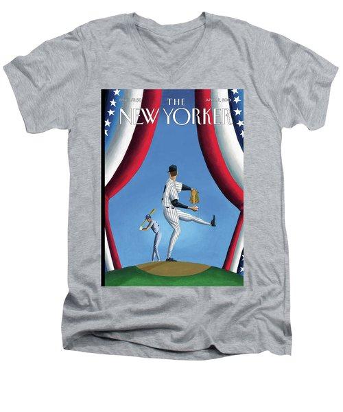 New Yorker April 2nd, 2001 Men's V-Neck T-Shirt